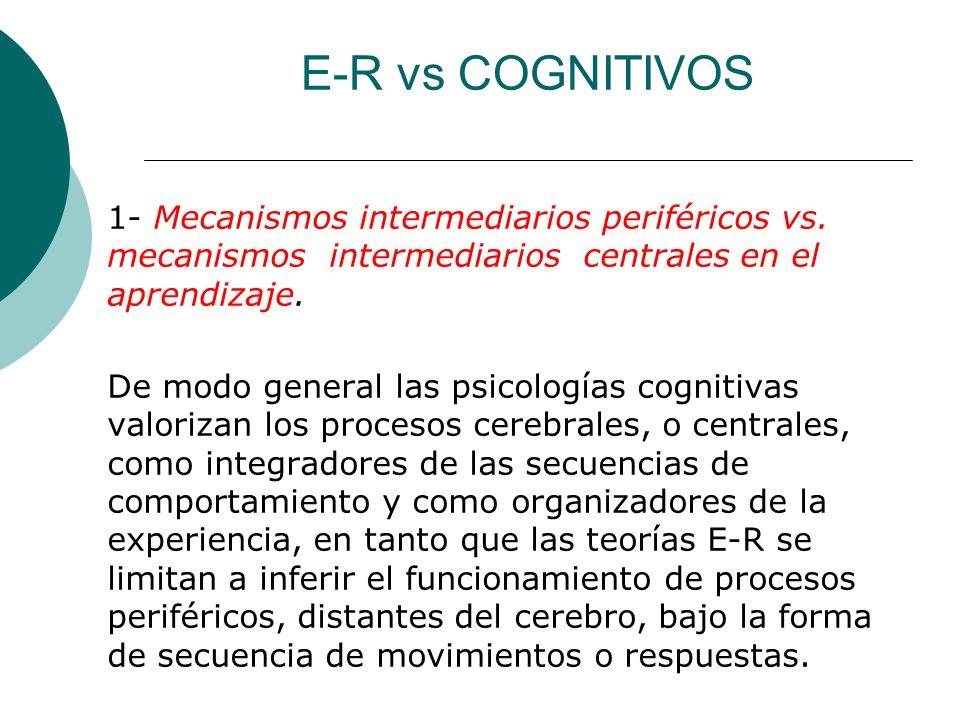 E-R vs COGNITIVOS 1- Mecanismos intermediarios periféricos vs.