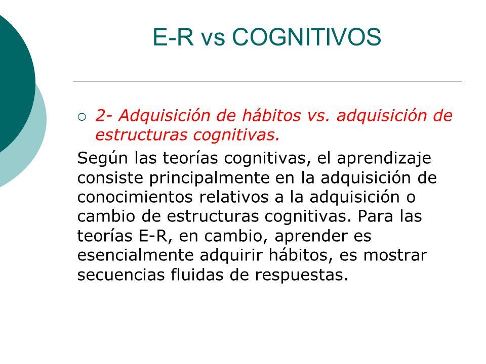 E-R vs COGNITIVOS 2- Adquisición de hábitos vs.adquisición de estructuras cognitivas.