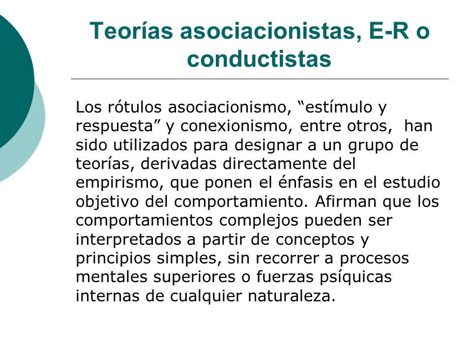 Teorías asociacionistas, E-R o conductistas Los rótulos asociacionismo, estímulo y respuesta y conexionismo, entre otros, han sido utilizados para designar a un grupo de teorías, derivadas directamente del empirismo, que ponen el énfasis en el estudio objetivo del comportamiento.
