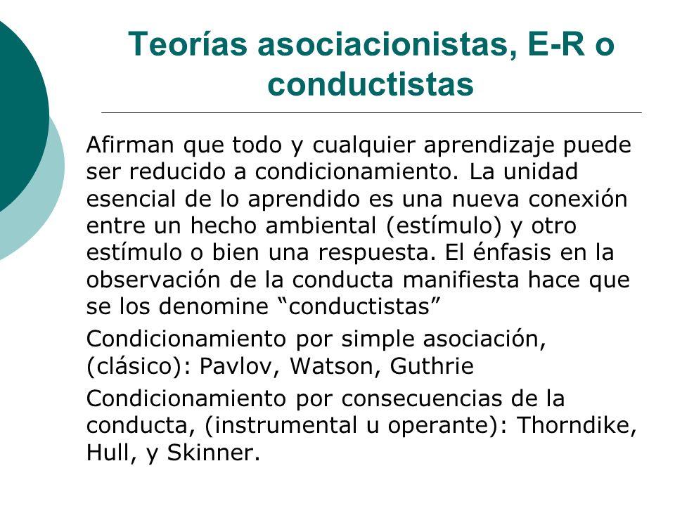 Teorías asociacionistas, E-R o conductistas Afirman que todo y cualquier aprendizaje puede ser reducido a condicionamiento.