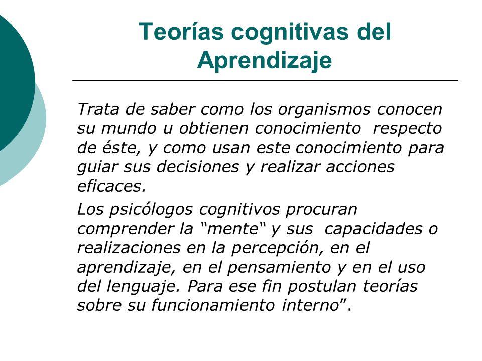 Teorías cognitivas del Aprendizaje Trata de saber como los organismos conocen su mundo u obtienen conocimiento respecto de éste, y como usan este conocimiento para guiar sus decisiones y realizar acciones eficaces.