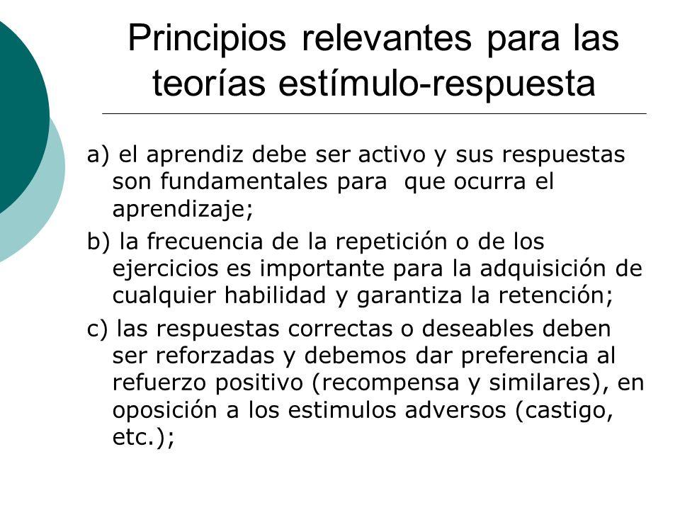 Principios relevantes para las teorías estímulo-respuesta a) el aprendiz debe ser activo y sus respuestas son fundamentales para que ocurra el aprendizaje; b) la frecuencia de la repetición o de los ejercicios es importante para la adquisición de cualquier habilidad y garantiza la retención; c) las respuestas correctas o deseables deben ser reforzadas y debemos dar preferencia al refuerzo positivo (recompensa y similares), en oposición a los estimulos adversos (castigo, etc.);