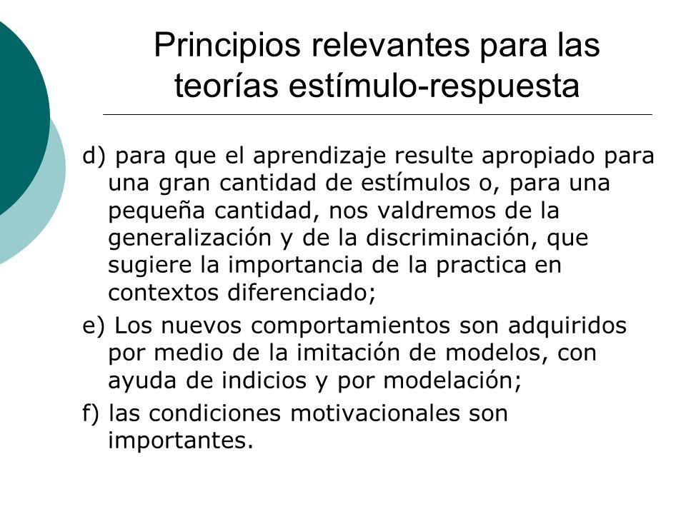 Principios relevantes para las teorías estímulo-respuesta d) para que el aprendizaje resulte apropiado para una gran cantidad de estímulos o, para una pequeña cantidad, nos valdremos de la generalización y de la discriminación, que sugiere la importancia de la practica en contextos diferenciado; e) Los nuevos comportamientos son adquiridos por medio de la imitación de modelos, con ayuda de indicios y por modelación; f) las condiciones motivacionales son importantes.
