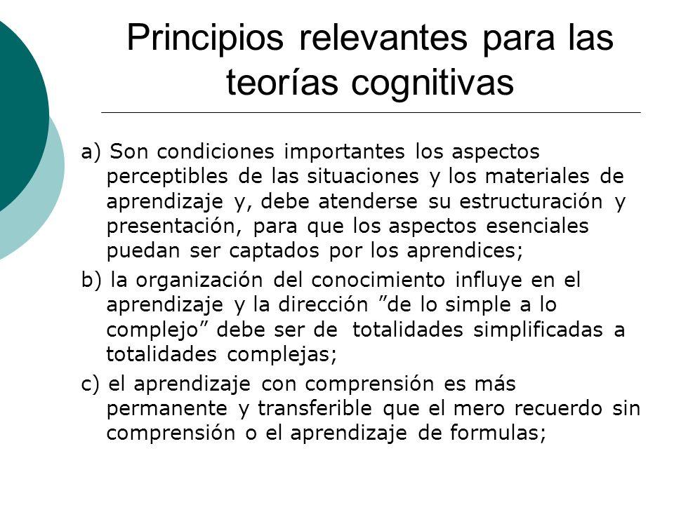 Principios relevantes para las teorías cognitivas a) Son condiciones importantes los aspectos perceptibles de las situaciones y los materiales de aprendizaje y, debe atenderse su estructuración y presentación, para que los aspectos esenciales puedan ser captados por los aprendices; b) la organización del conocimiento influye en el aprendizaje y la dirección de lo simple a lo complejo debe ser de totalidades simplificadas a totalidades complejas; c) el aprendizaje con comprensión es más permanente y transferible que el mero recuerdo sin comprensión o el aprendizaje de formulas;