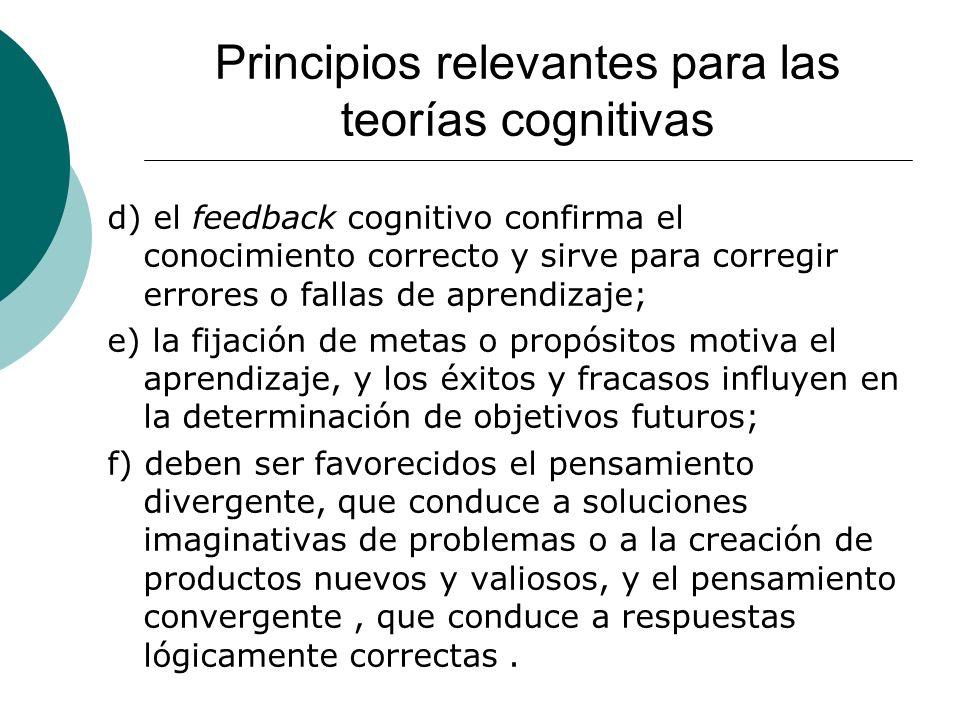 Principios relevantes para las teorías cognitivas d) el feedback cognitivo confirma el conocimiento correcto y sirve para corregir errores o fallas de aprendizaje; e) la fijación de metas o propósitos motiva el aprendizaje, y los éxitos y fracasos influyen en la determinación de objetivos futuros; f) deben ser favorecidos el pensamiento divergente, que conduce a soluciones imaginativas de problemas o a la creación de productos nuevos y valiosos, y el pensamiento convergente, que conduce a respuestas lógicamente correctas.