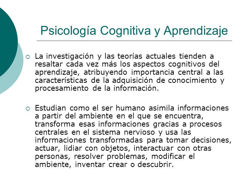 Psicología Cognitiva y Aprendizaje La investigación y las teorías actuales tienden a resaltar cada vez más los aspectos cognitivos del aprendizaje, atribuyendo importancia central a las características de la adquisición de conocimiento y procesamiento de la información.