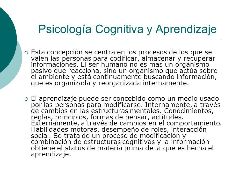 Psicología Cognitiva y Aprendizaje Esta concepción se centra en los procesos de los que se valen las personas para codificar, almacenar y recuperar informaciones.