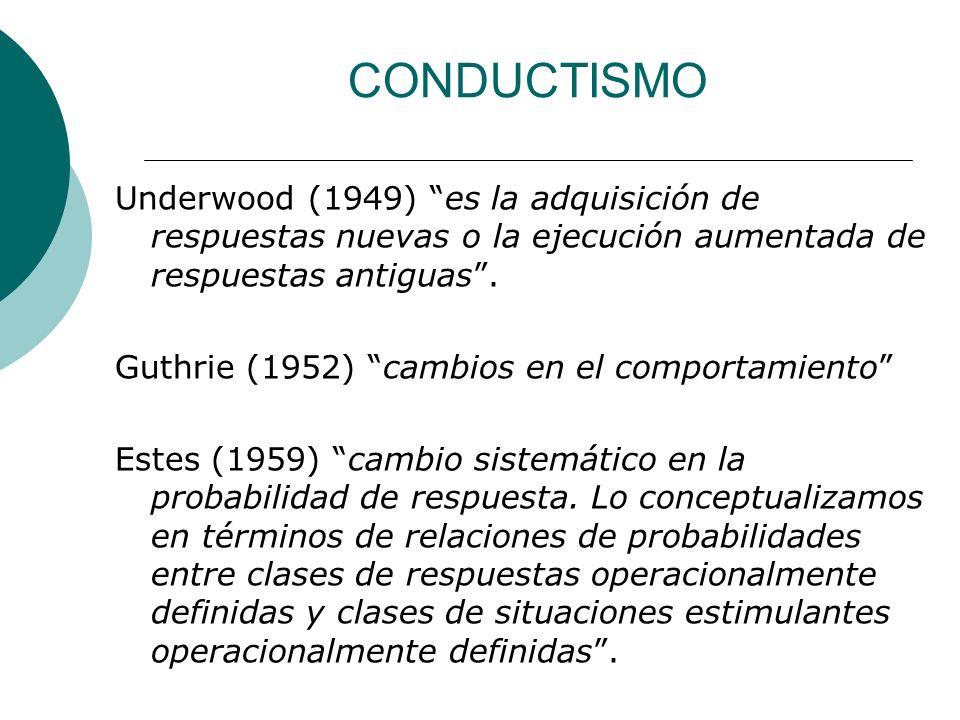 CONDUCTISMO Underwood (1949) es la adquisición de respuestas nuevas o la ejecución aumentada de respuestas antiguas.