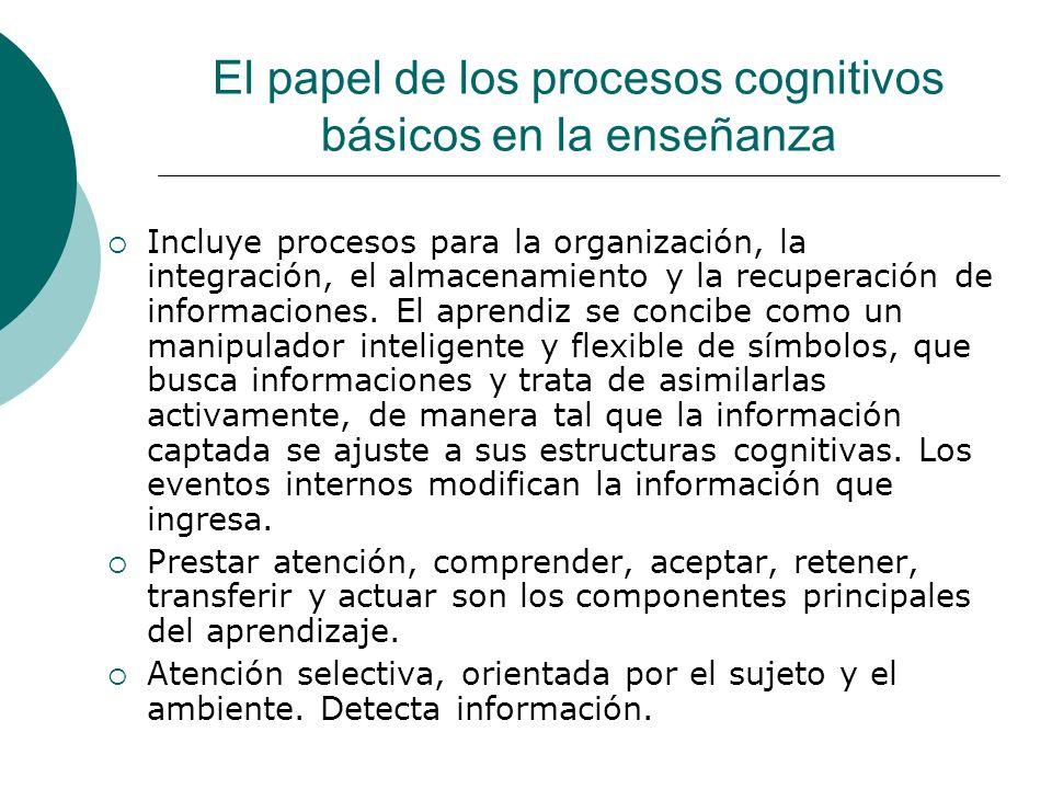 El papel de los procesos cognitivos básicos en la enseñanza Incluye procesos para la organización, la integración, el almacenamiento y la recuperación de informaciones.