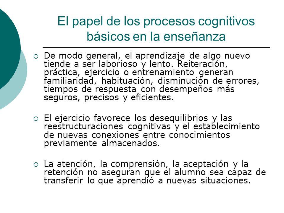 El papel de los procesos cognitivos básicos en la enseñanza De modo general, el aprendizaje de algo nuevo tiende a ser laborioso y lento.