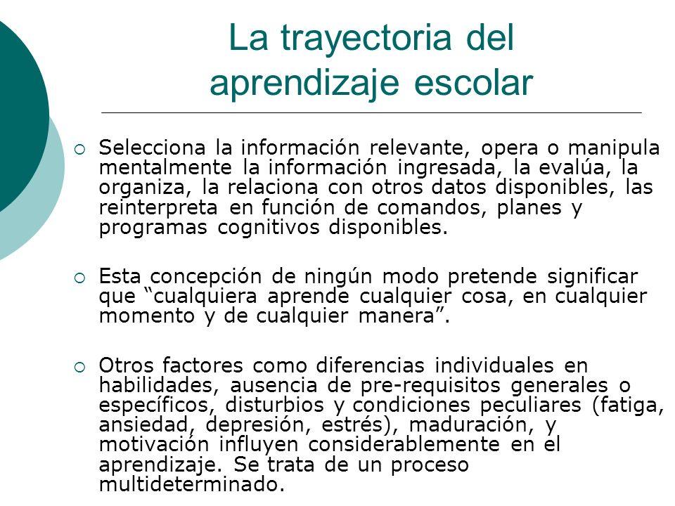 La trayectoria del aprendizaje escolar Selecciona la información relevante, opera o manipula mentalmente la información ingresada, la evalúa, la organiza, la relaciona con otros datos disponibles, las reinterpreta en función de comandos, planes y programas cognitivos disponibles.