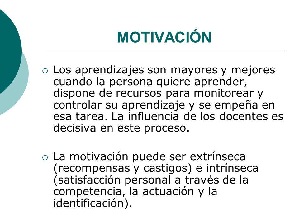 MOTIVACIÓN Los aprendizajes son mayores y mejores cuando la persona quiere aprender, dispone de recursos para monitorear y controlar su aprendizaje y se empeña en esa tarea.
