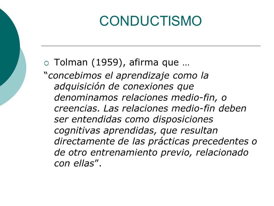 CONDUCTISMO Tolman (1959), afirma que … concebimos el aprendizaje como la adquisición de conexiones que denominamos relaciones medio-fin, o creencias.