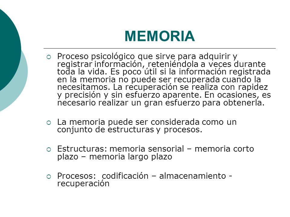 MEMORIA Proceso psicológico que sirve para adquirir y registrar información, reteniéndola a veces durante toda la vida.