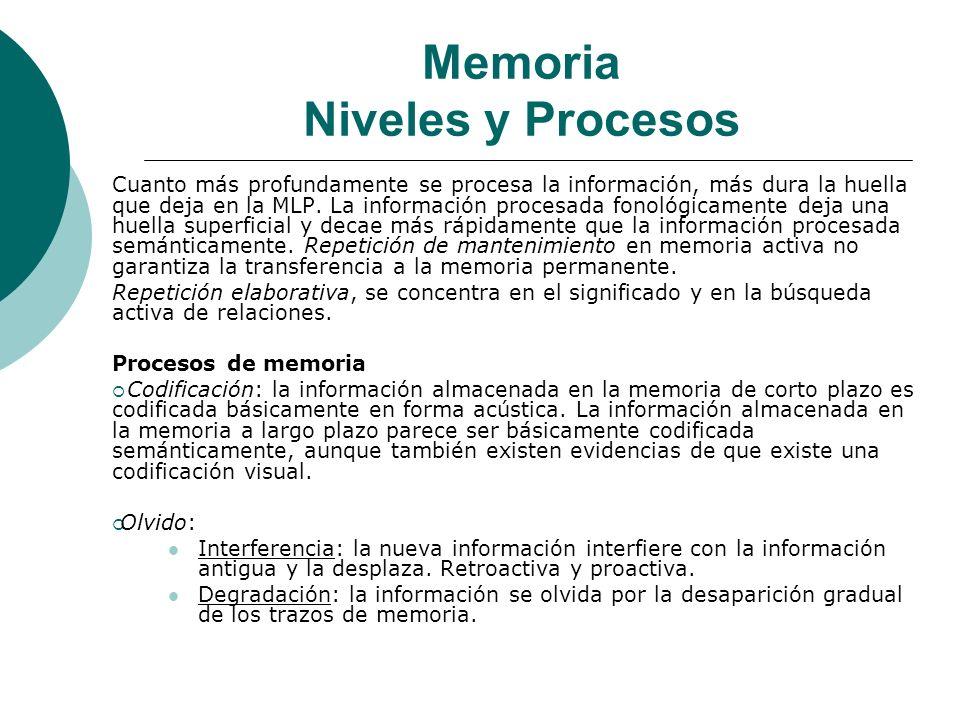 Memoria Niveles y Procesos Cuanto más profundamente se procesa la información, más dura la huella que deja en la MLP.