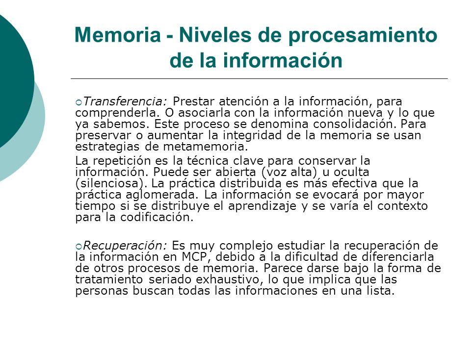 Memoria - Niveles de procesamiento de la información Transferencia: Prestar atención a la información, para comprenderla.