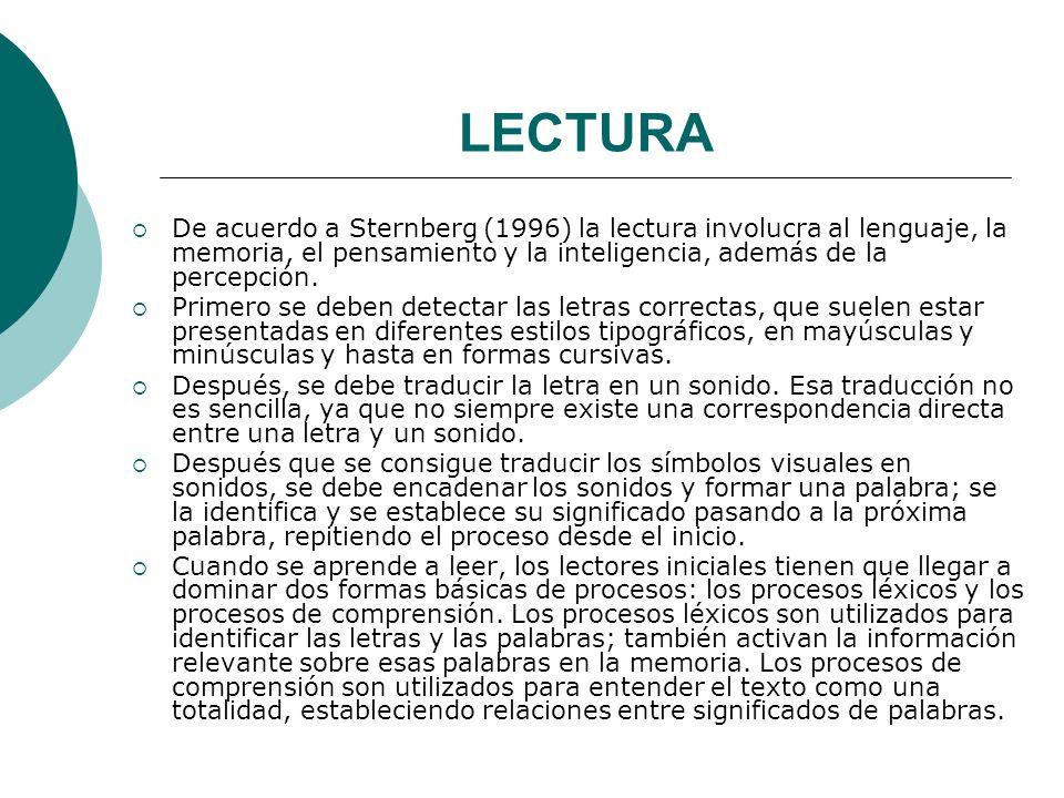 LECTURA De acuerdo a Sternberg (1996) la lectura involucra al lenguaje, la memoria, el pensamiento y la inteligencia, además de la percepción.