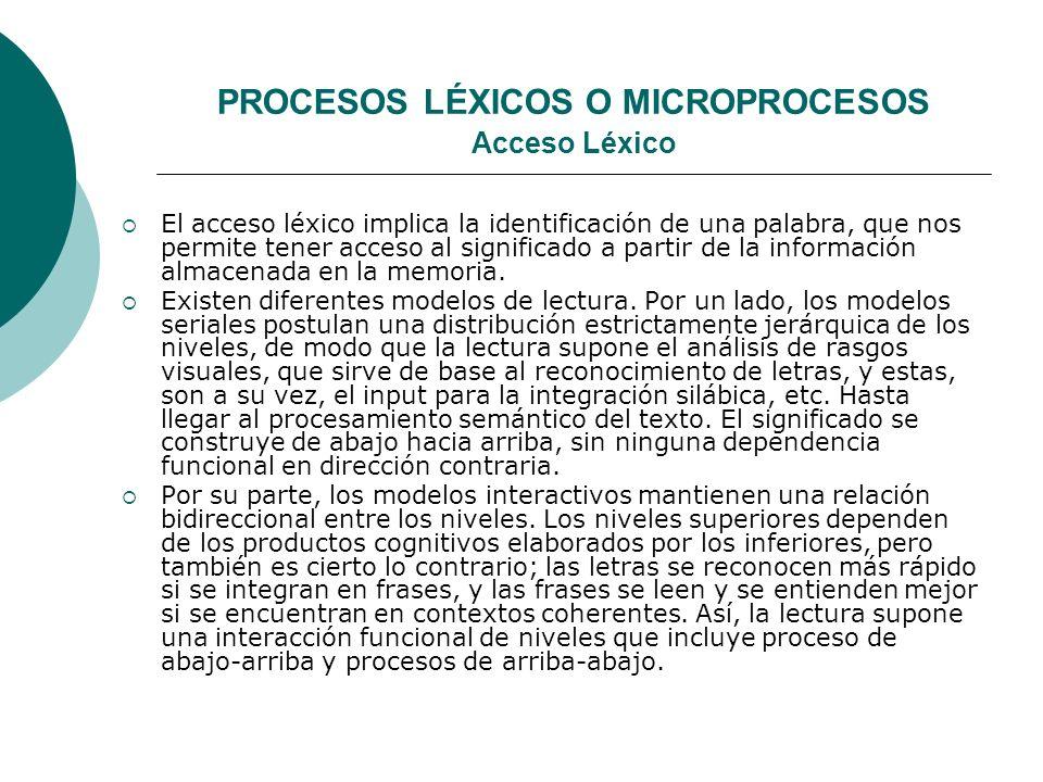 PROCESOS LÉXICOS O MICROPROCESOS Acceso Léxico El acceso léxico implica la identificación de una palabra, que nos permite tener acceso al significado a partir de la información almacenada en la memoria.