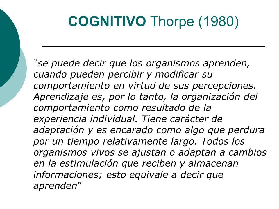 COGNITIVO Thorpe (1980) se puede decir que los organismos aprenden, cuando pueden percibir y modificar su comportamiento en virtud de sus percepciones.