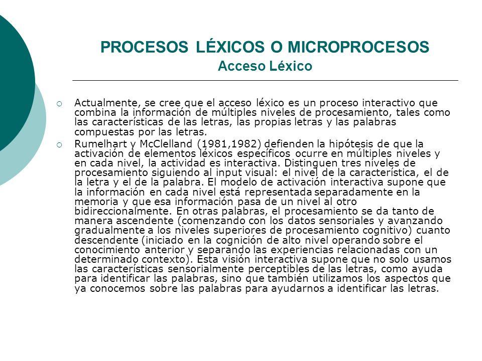 PROCESOS LÉXICOS O MICROPROCESOS Acceso Léxico Actualmente, se cree que el acceso léxico es un proceso interactivo que combina la información de múltiples niveles de procesamiento, tales como las características de las letras, las propias letras y las palabras compuestas por las letras.