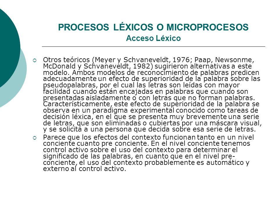 PROCESOS LÉXICOS O MICROPROCESOS Acceso Léxico Otros teóricos (Meyer y Schvaneveldt, 1976; Paap, Newsonme, McDonald y Schvaneveldt, 1982) sugirieron alternativas a este modelo.
