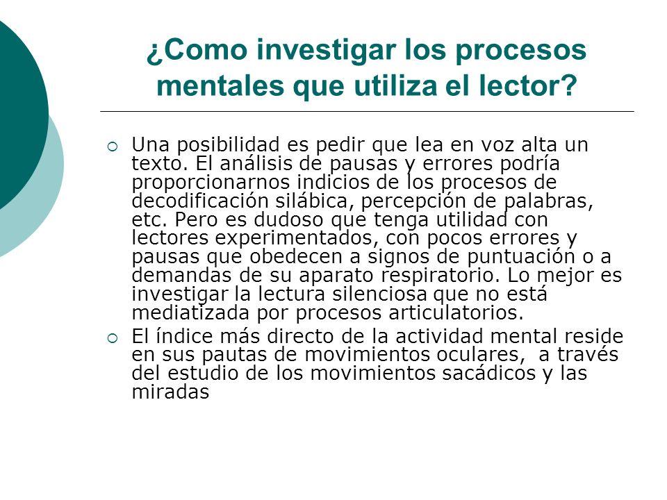 ¿Como investigar los procesos mentales que utiliza el lector.