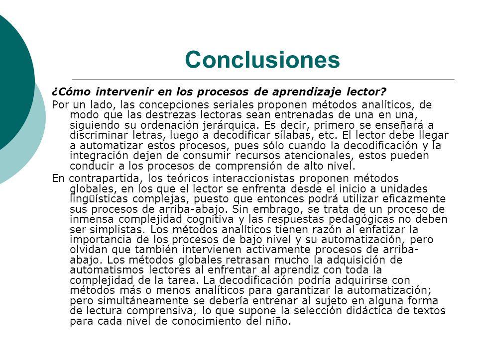 Conclusiones ¿Cómo intervenir en los procesos de aprendizaje lector.