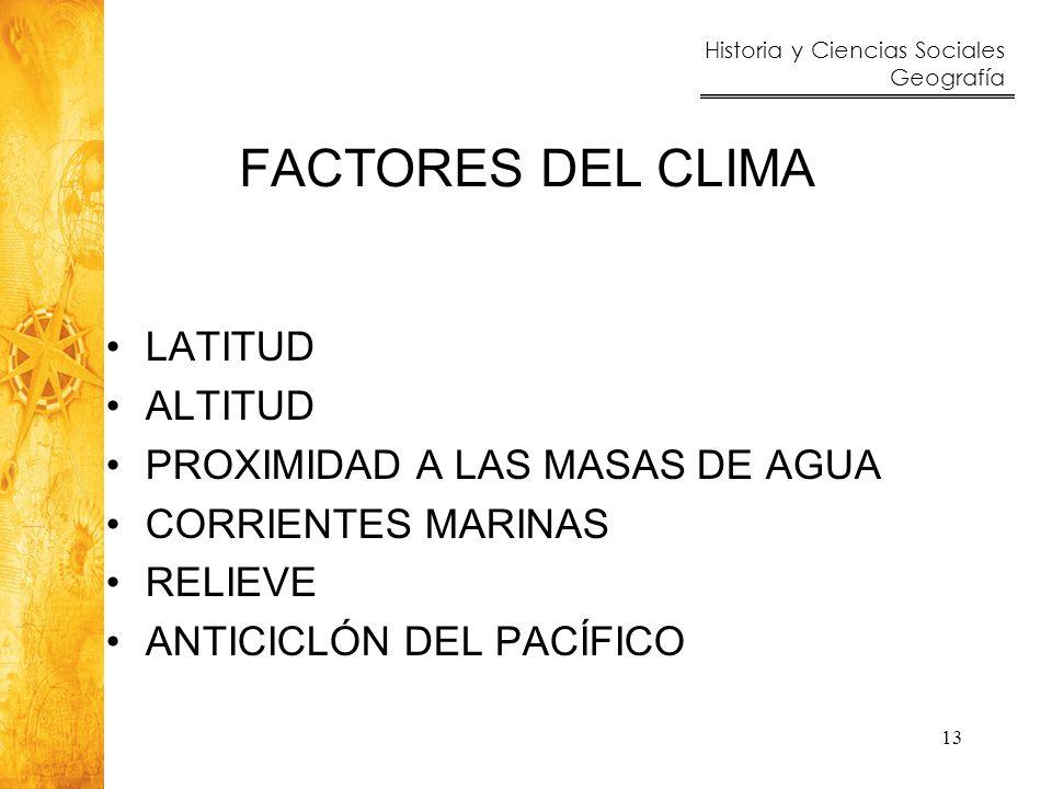 Historia y Ciencias Sociales Geografía 13 FACTORES DEL CLIMA LATITUD ALTITUD PROXIMIDAD A LAS MASAS DE AGUA CORRIENTES MARINAS RELIEVE ANTICICLÓN DEL
