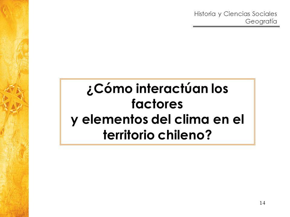 Historia y Ciencias Sociales Geografía 14 ¿Cómo interactúan los factores y elementos del clima en el territorio chileno?