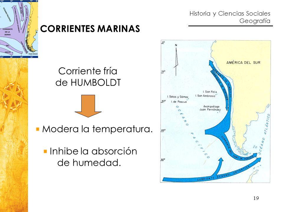 Historia y Ciencias Sociales Geografía 19 Corriente fría de HUMBOLDT Modera la temperatura. Inhibe la absorción de humedad. CORRIENTES MARINAS