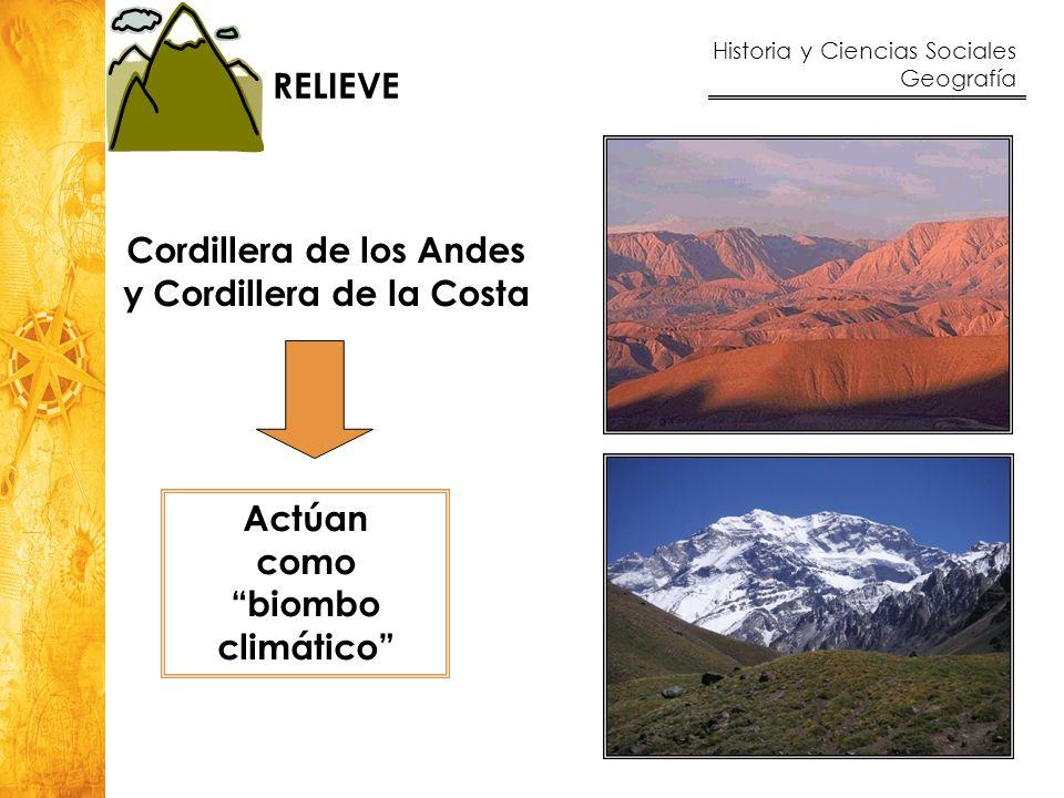 Historia y Ciencias Sociales Geografía 20 Cordillera de los Andes y Cordillera de la Costa Actúan como biombo climático RELIEVE