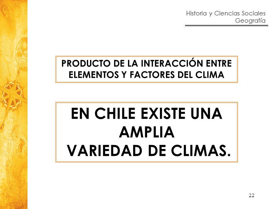 Historia y Ciencias Sociales Geografía 22 PRODUCTO DE LA INTERACCIÓN ENTRE ELEMENTOS Y FACTORES DEL CLIMA EN CHILE EXISTE UNA AMPLIA VARIEDAD DE CLIMA