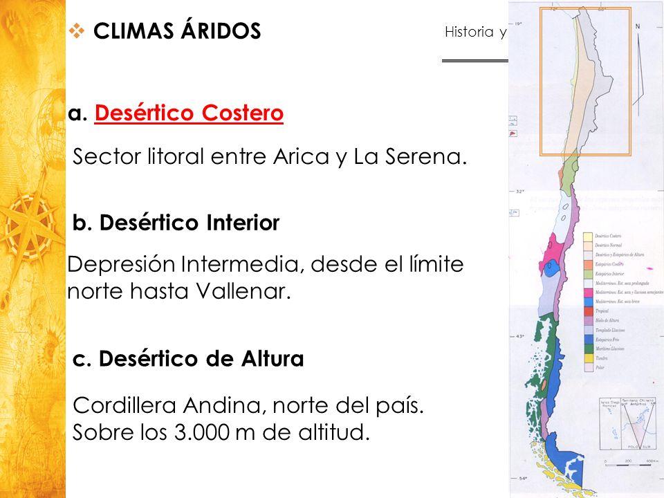 Historia y Ciencias Sociales Geografía 24 a. Desértico CosteroDesértico Costero CLIMAS ÁRIDOS Sector litoral entre Arica y La Serena. b. Desértico Int
