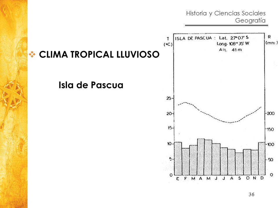 Historia y Ciencias Sociales Geografía 36 Isla de Pascua CLIMA TROPICAL LLUVIOSO