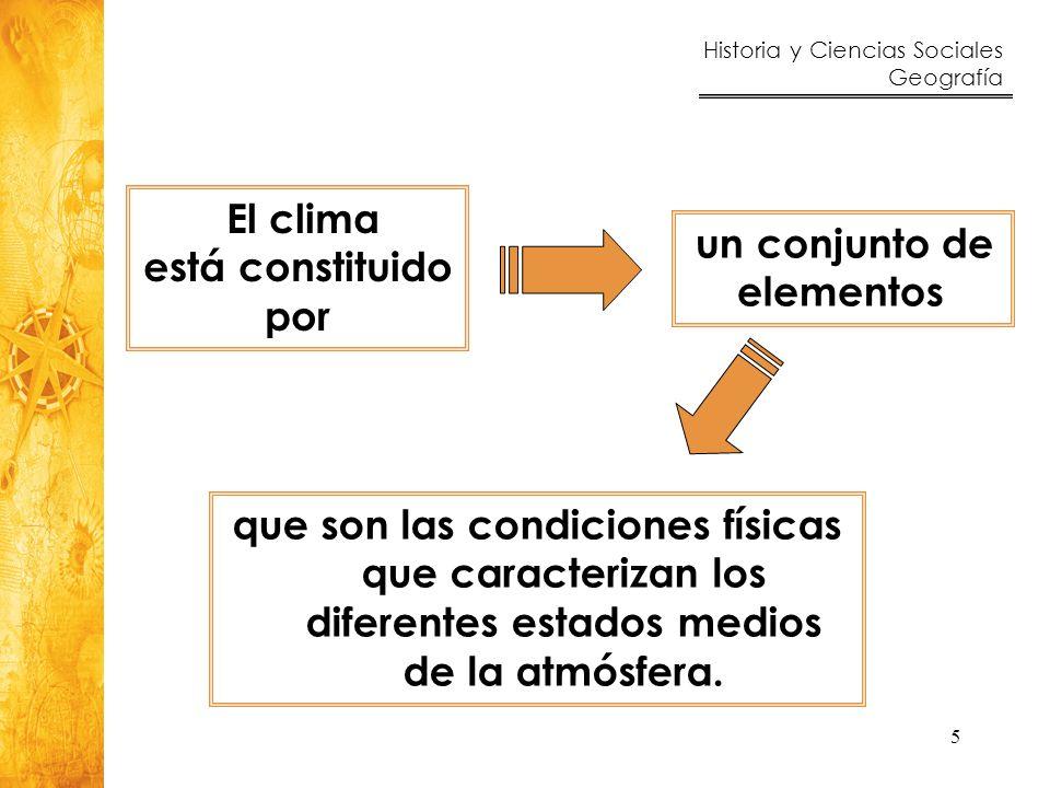 Historia y Ciencias Sociales Geografía 5 un conjunto de elementos El clima está constituido por que son las condiciones físicas que caracterizan los d