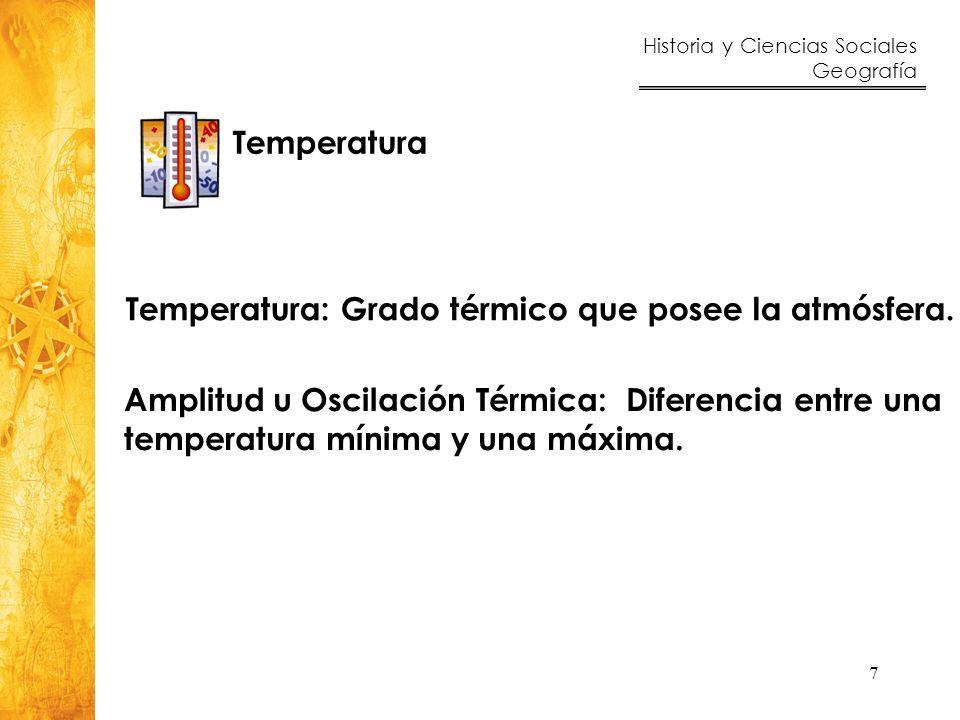 Historia y Ciencias Sociales Geografía 7 Temperatura Temperatura: Grado térmico que posee la atmósfera. Amplitud u Oscilación Térmica: Diferencia entr