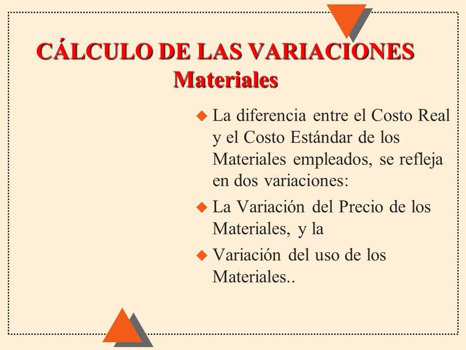 CÁLCULO DE LAS VARIACIONES Materiales u La diferencia entre el Costo Real y el Costo Estándar de los Materiales empleados, se refleja en dos variacion