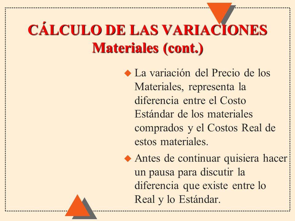 u La variación del Precio de los Materiales, representa la diferencia entre el Costo Estándar de los materiales comprados y el Costos Real de estos ma