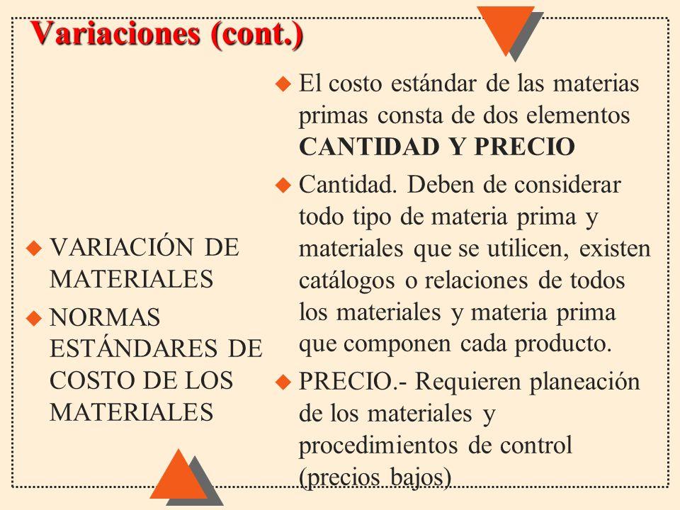 Variaciones (cont.) u El costo estándar de las materias primas consta de dos elementos CANTIDAD Y PRECIO u Cantidad. Deben de considerar todo tipo de