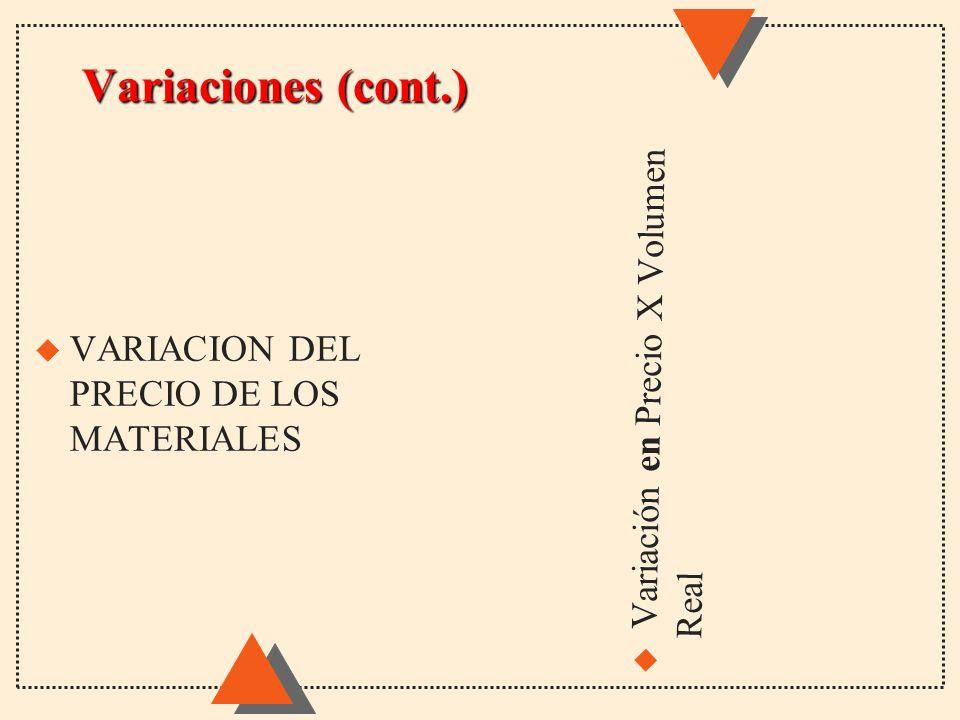 Variaciones (cont.) u Variación en Precio X Volumen Real u VARIACION DEL PRECIO DE LOS MATERIALES