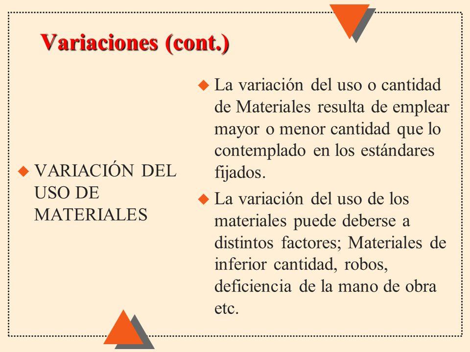 Variaciones (cont.) u La variación del uso o cantidad de Materiales resulta de emplear mayor o menor cantidad que lo contemplado en los estándares fij