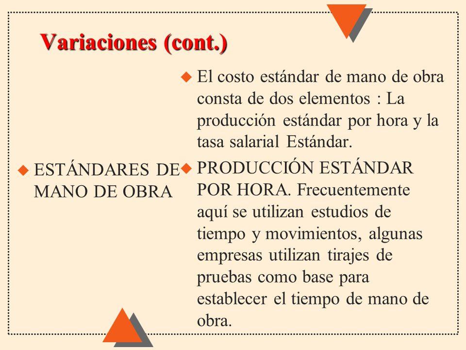 Variaciones (cont.) u El costo estándar de mano de obra consta de dos elementos : La producción estándar por hora y la tasa salarial Estándar. u PRODU
