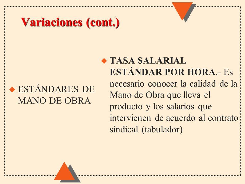 Variaciones (cont.) u TASA SALARIAL ESTÁNDAR POR HORA.- Es necesario conocer la calidad de la Mano de Obra que lleva el producto y los salarios que in