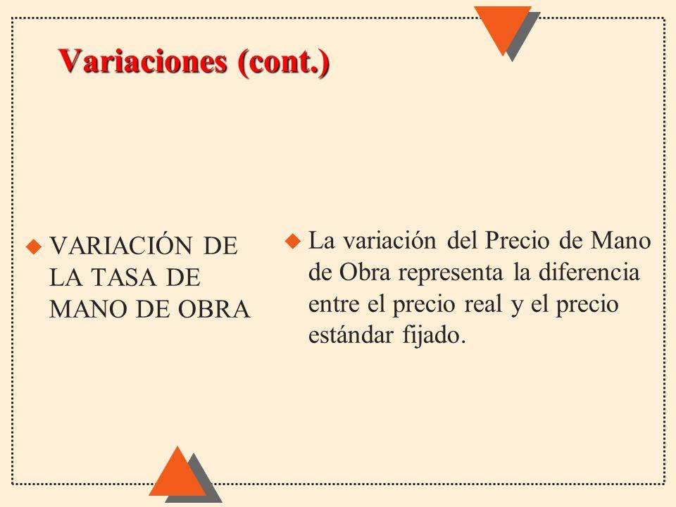 Variaciones (cont.) u La variación del Precio de Mano de Obra representa la diferencia entre el precio real y el precio estándar fijado. u VARIACIÓN D