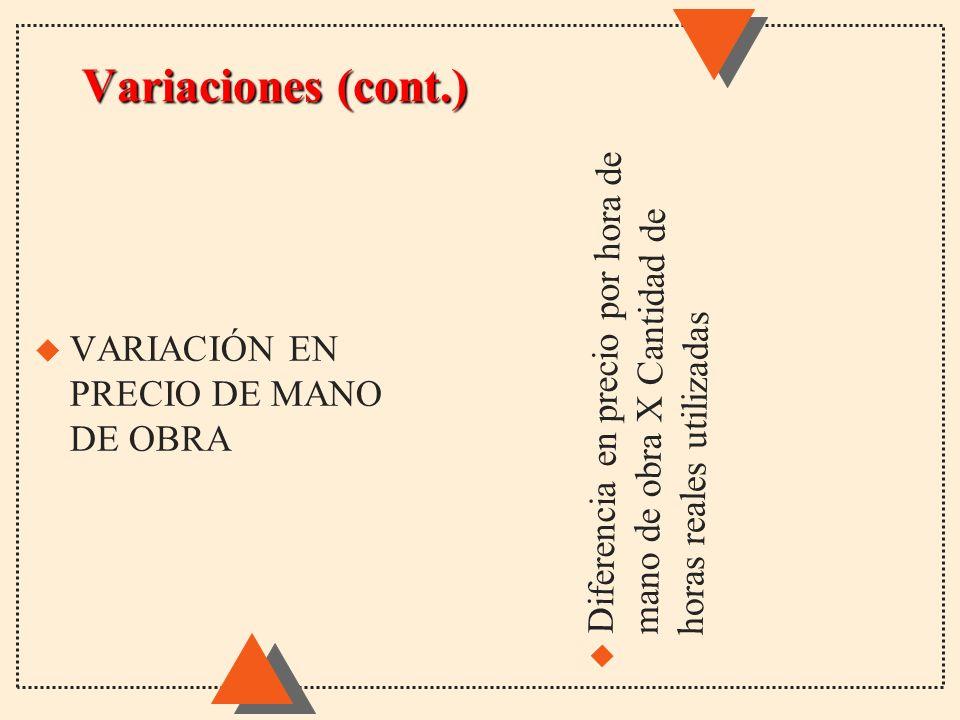 Variaciones (cont.) u Diferencia en precio por hora de mano de obra X Cantidad de horas reales utilizadas u VARIACIÓN EN PRECIO DE MANO DE OBRA