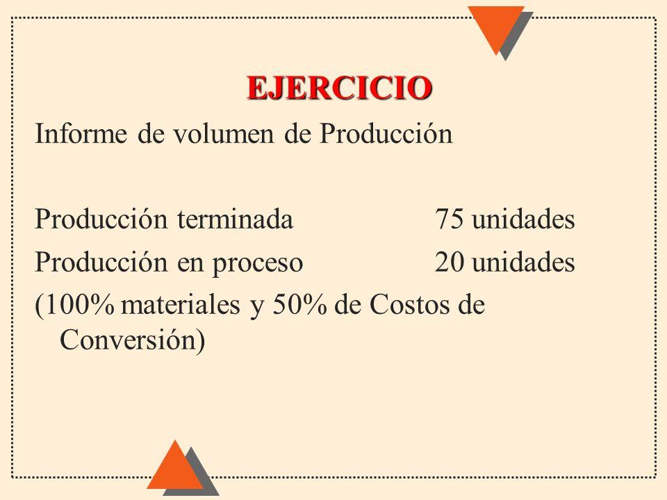 EJERCICIO Informe de volumen de Producción Producción terminada75 unidades Producción en proceso20 unidades (100% materiales y 50% de Costos de Conver