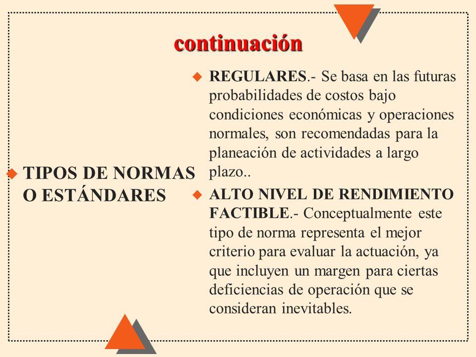 continuación u REGULARES.- Se basa en las futuras probabilidades de costos bajo condiciones económicas y operaciones normales, son recomendadas para l
