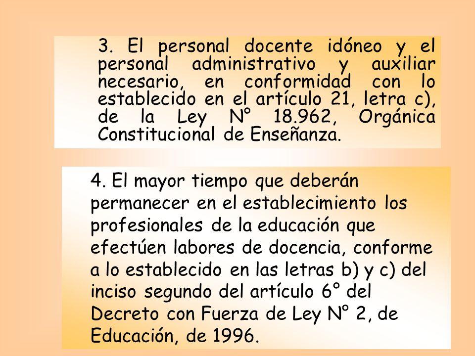 3. El personal docente idóneo y el personal administrativo y auxiliar necesario, en conformidad con lo establecido en el artículo 21, letra c), de la
