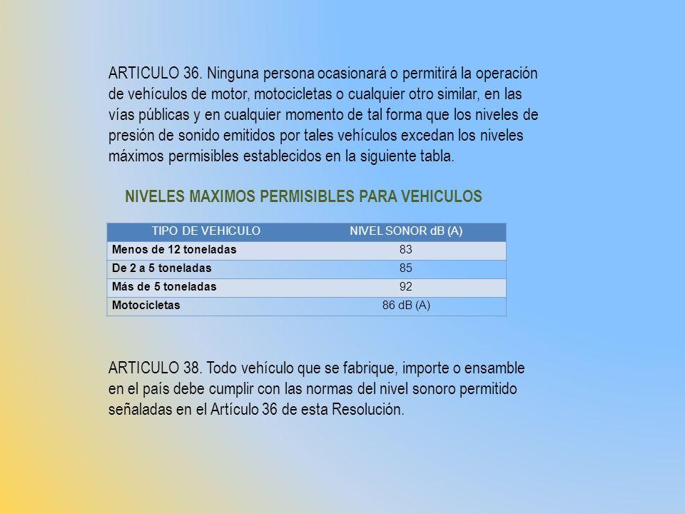 TIPO DE VEHICULONIVEL SONOR dB (A) Menos de 12 toneladas83 De 2 a 5 toneladas85 Más de 5 toneladas92 Motocicletas86 dB (A) ARTICULO 36. Ninguna person