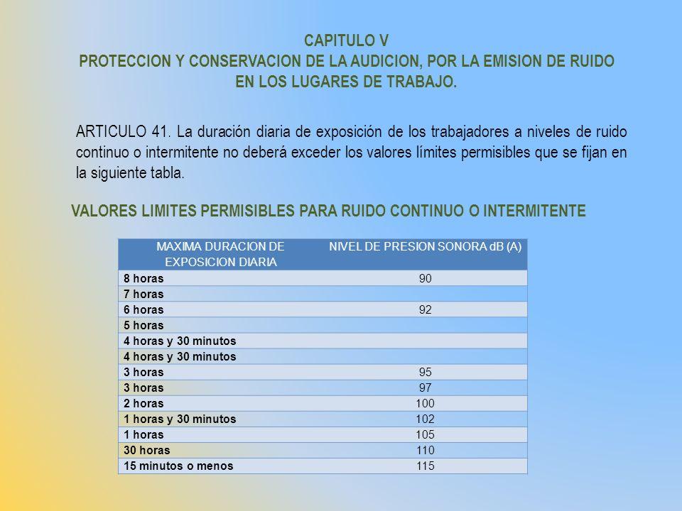 CAPITULO V PROTECCION Y CONSERVACION DE LA AUDICION, POR LA EMISION DE RUIDO EN LOS LUGARES DE TRABAJO. ARTICULO 41. La duración diaria de exposición